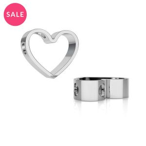 Rhodium plated heart pendant, sterling silver 925, ODL-00236 11,1x13,3 mm