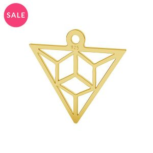 Gold plated origami triangle pendant, sterling silver, LK-1508 - 0,50 15,3x16,5 mm