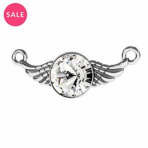 Rhodium plated wing connector pendant with crystal, sterling silver 925, ODL-00310 11X26,5 mm ver.2