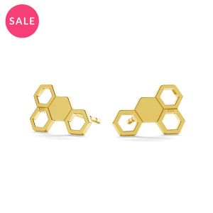 Gold plated honeycomb post earring, sterling silver 925, LK-0811 KLS (L+R) - 0,50