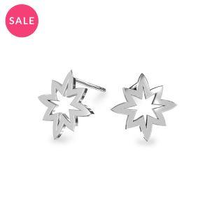 Rhodium plated star earrings, sterling silver 925, KLS LKM-2255 - 0,50 11,1x13 mm